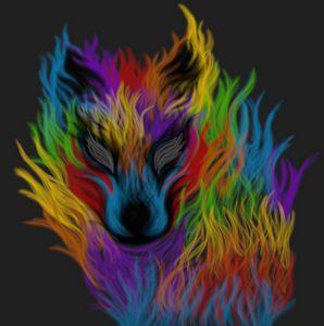 Rainbow Flame Wolf
