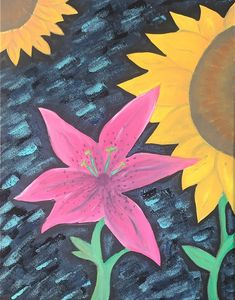 Sunflower and Pink Lily Painting