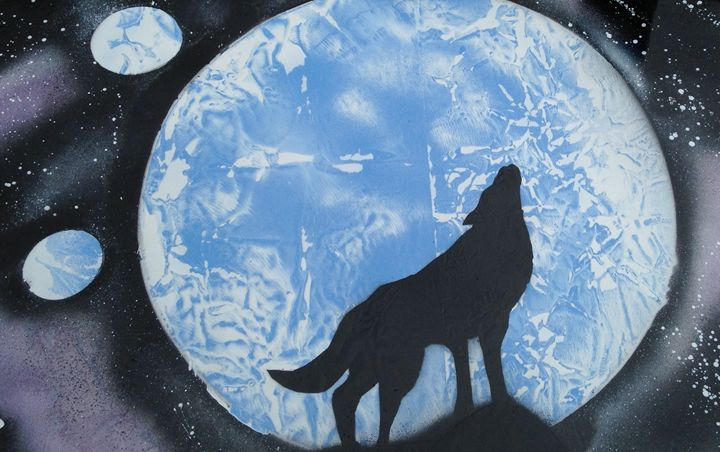 Lone Wolf. - Spray Paintings by Lorena