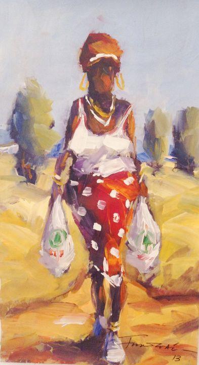 African Woman Carrying Spar Bags - African Urban Art