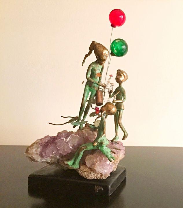 Malcolm Moran Sculpture - 3 Children - African Urban Art