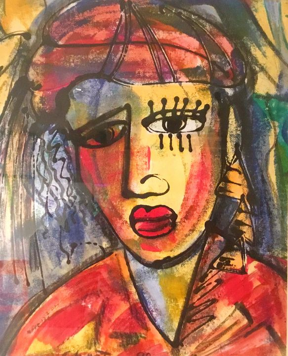 Pretty Woman in Red - Abstract Print - African Urban Art