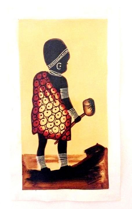 Masaai Child with Knobkierrie - African Urban Art