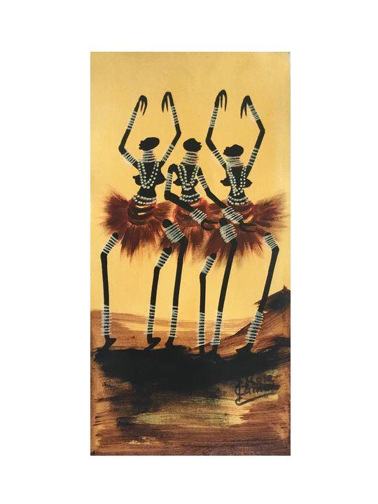 Rose Kamoto - Three Masaai Dancers - African Urban Art