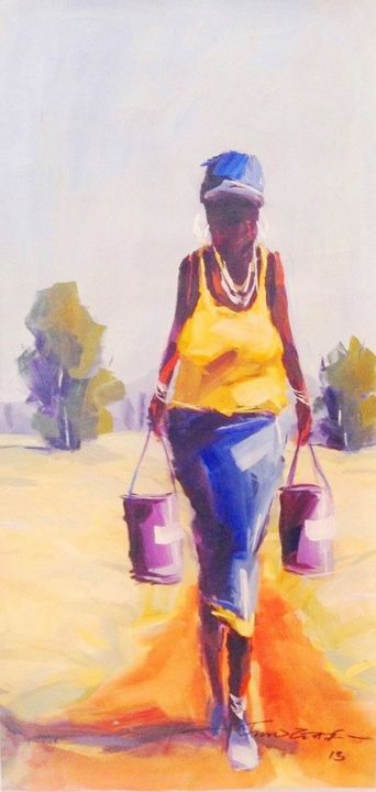 African Woman Carrying Buckets - African Urban Art