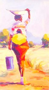 African Woman Carrying Baby & Bucket