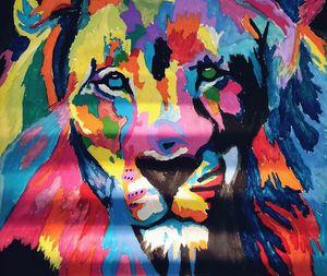 Colorful Lion Head Illustration