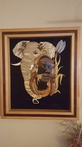African warrior wooden wall hanging