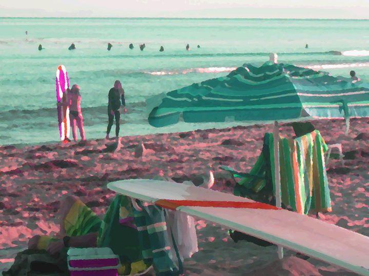 Hanging in Malibu - Blue Fusion Surf Art