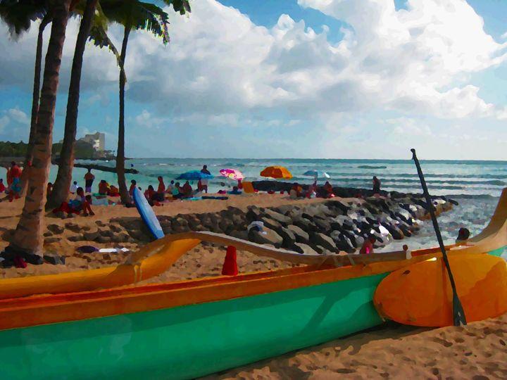 Outrigger Waikiki - Blue Fusion Surf Art