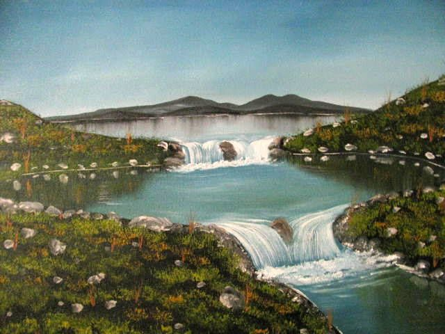 Waterfalls on the lake - Art by Brad Kammeyer