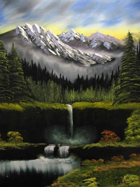 Rocky Mountains Waterfall - Art by Brad Kammeyer
