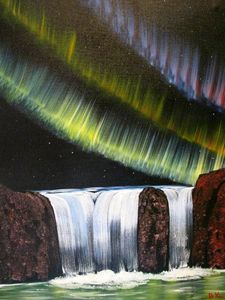 NORTHERN LIGHTS WATERFALL