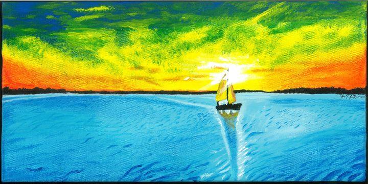 Sail Boat by The Sea. - JJFL Art's