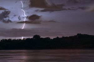 Lightning Strike over River