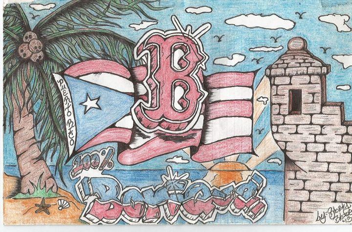 Boston Boricua Color Pencil Version - Aldalberto Rodriguez Custom ArtWork