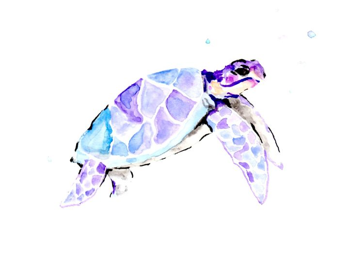 Sea Turtle Swimming - Art by Tea Silvestre Godfrey