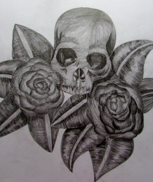 Skull with flowers - Tahlia paige