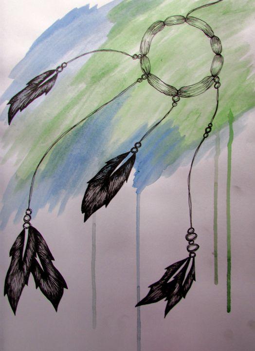 Watercolour and Pen dreamcatcher - Tahlia paige
