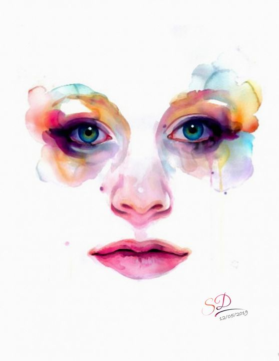 Beautiful face watercolor Style - Vector