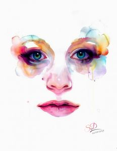 Beautiful face watercolor Style
