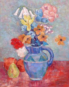 Iris vase flowers and pear