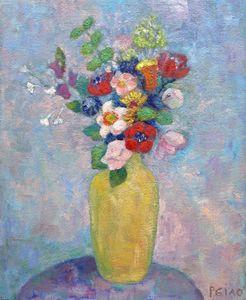 Yellow vase flowers
