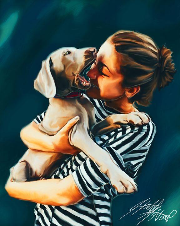 Girl Kissing Puppy - HMCNEILART