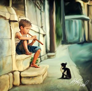 Boy with Flute and Kitten