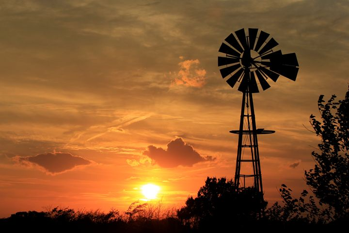 Kansas Sunset with a Windmill - Robert D Brozek