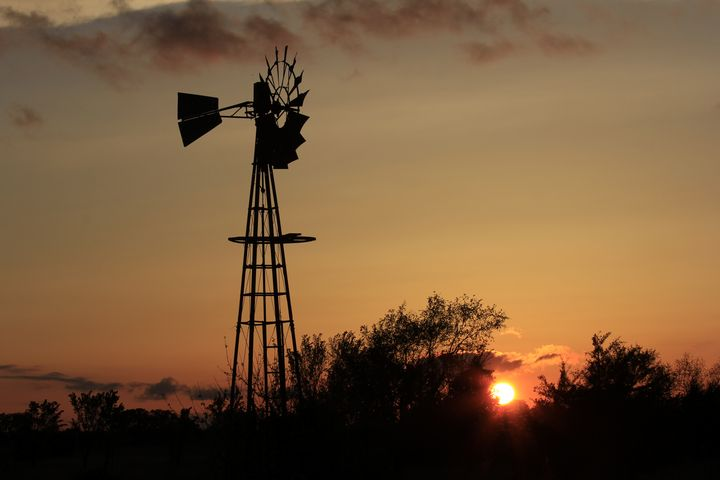 Kansas Windmill Silhouette w Sunset - Robert D Brozek
