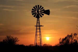 Kansas Windmill Sunset Silhouette