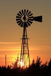Kansas Sunset with a Windmill