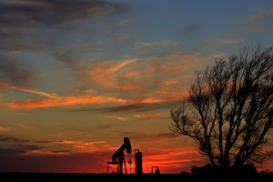 Oilwell Pump Silhouette Sunset