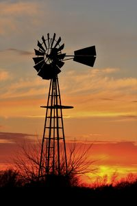 Kansas Windmill Silhouette Sunset