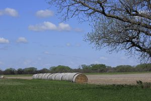 Kansas Farmland with Haybales