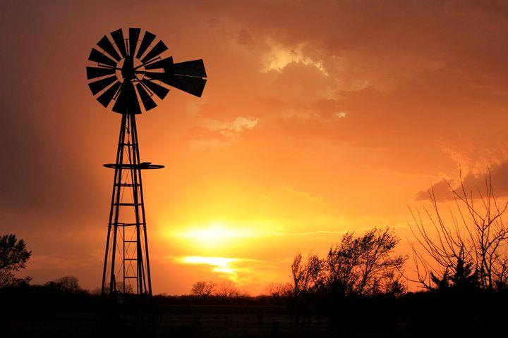 Kansas Golden Sunset with Windmill - Robert D Brozek