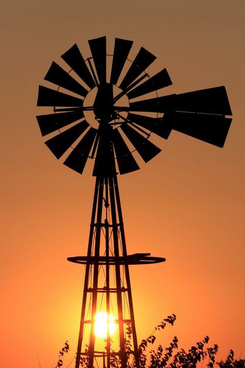 Kansas Windmill Sunset - Robert D Brozek
