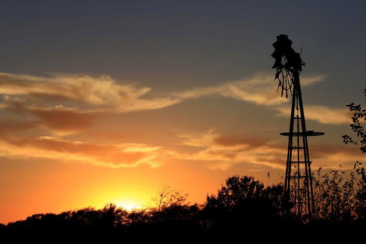 Kansas Golden Sunset with a Windmill - Robert D Brozek