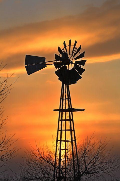 Golden Windmill silhouette - Robert D Brozek