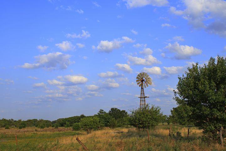 Windmill in a Kansas Pasture - Robert D Brozek