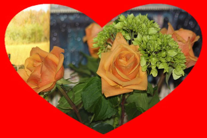 Golden Roses in  Heart Frame Closeup - Robert D Brozek