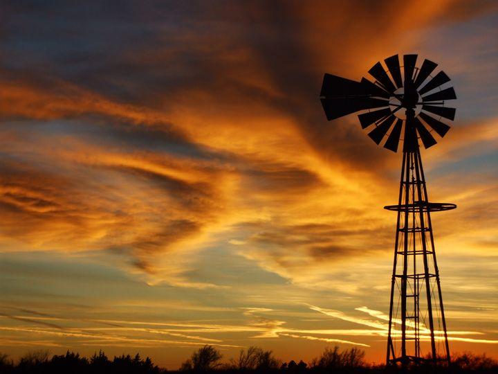 Kansas Golden Sky with Windmill - Robert D Brozek
