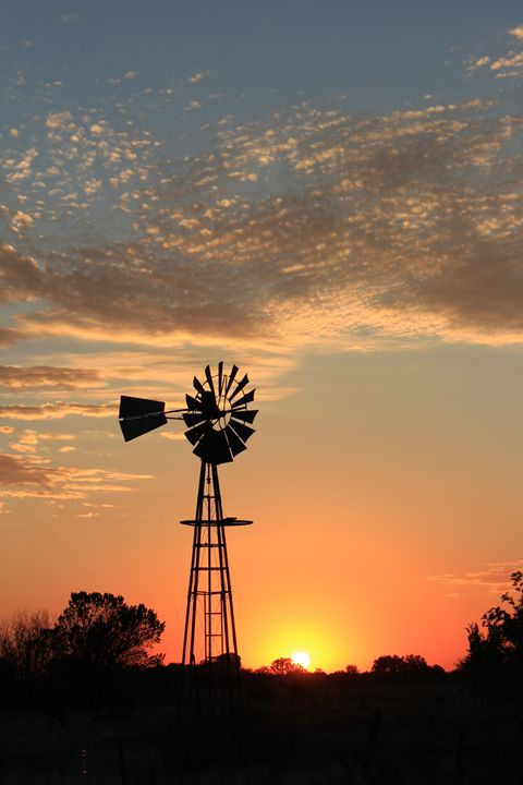 Golden Windmill Sunset Silhouette - Robert D Brozek