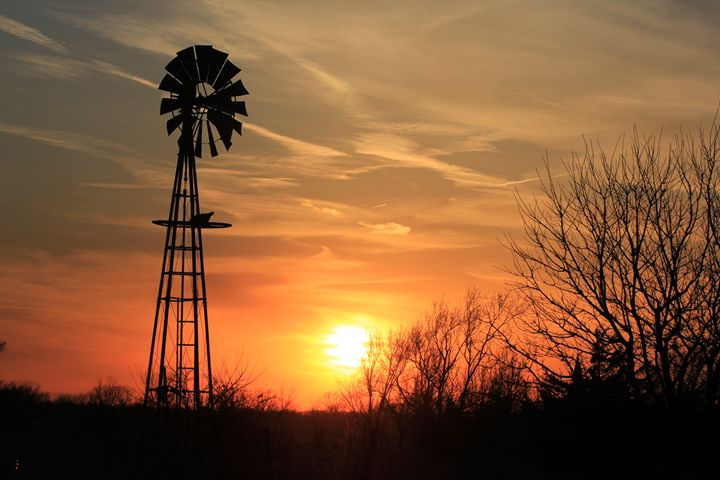 Kansas evening Sunset with Windmill - Robert D Brozek