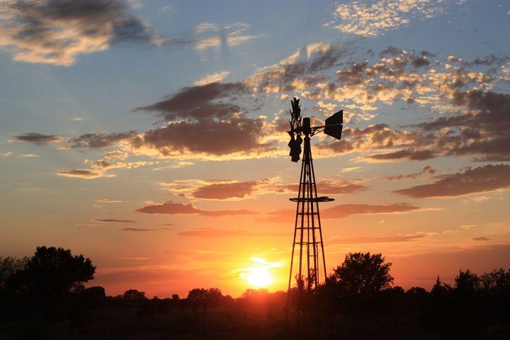 Windmill Silhouette Sunset  w Clouds - Robert D Brozek