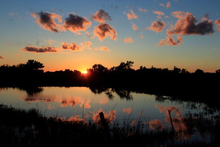 Kansas Sunset Reflection w clouds - Robert D Brozek