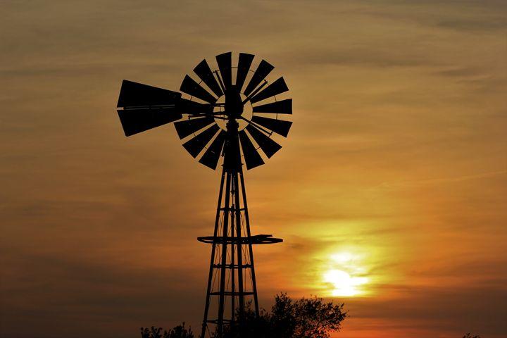 Kansas Windmill Silhouette Sunset - Robert D Brozek