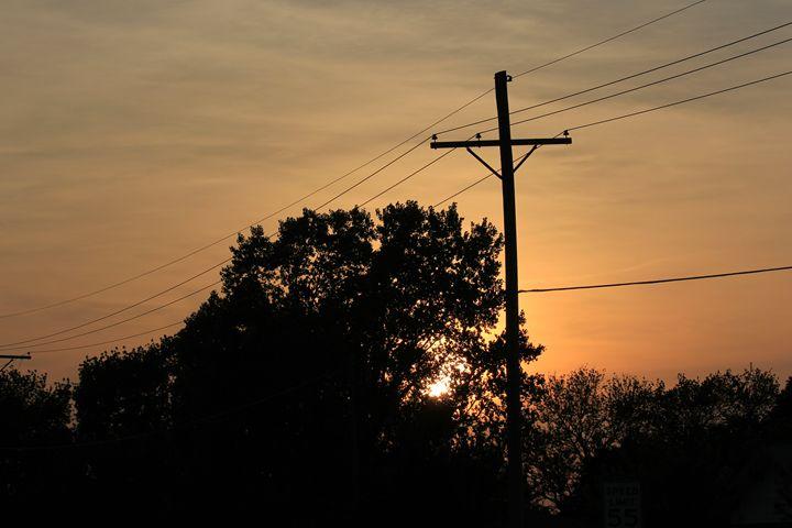 Kansas Power Line Sunset with Tree's - Robert D Brozek