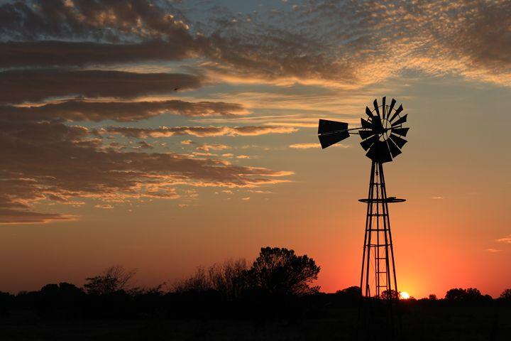 Kansas Golden Windmill Silhouette - Robert D Brozek